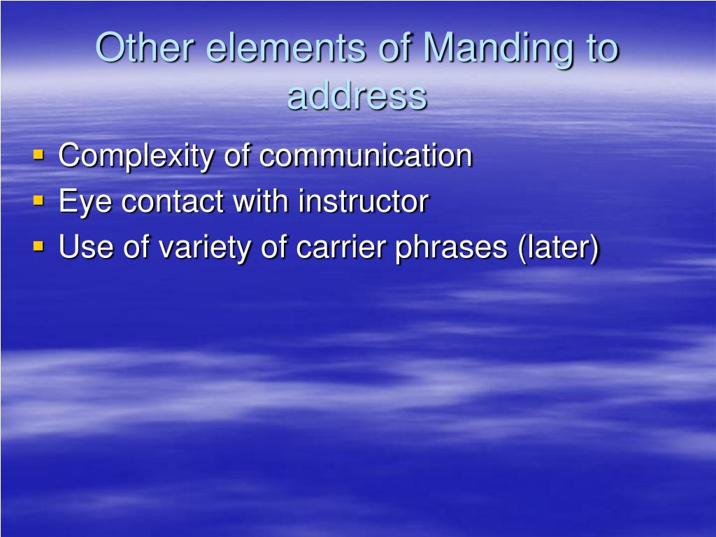 Other elements of Manding to address
