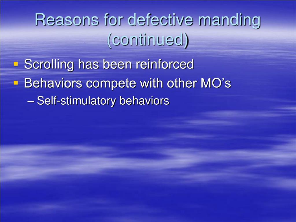 Reasons for defective manding
