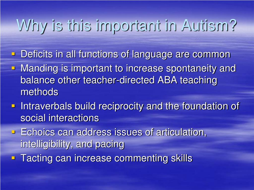 Why is this important in Autism?