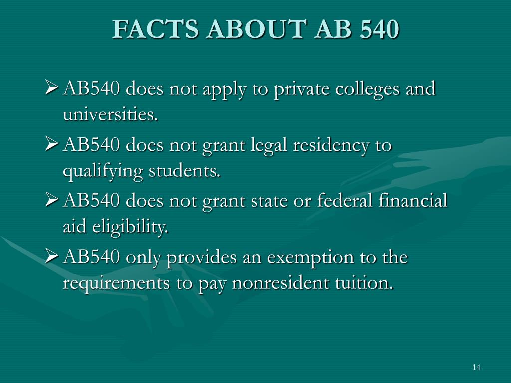 FACTS ABOUT AB 540