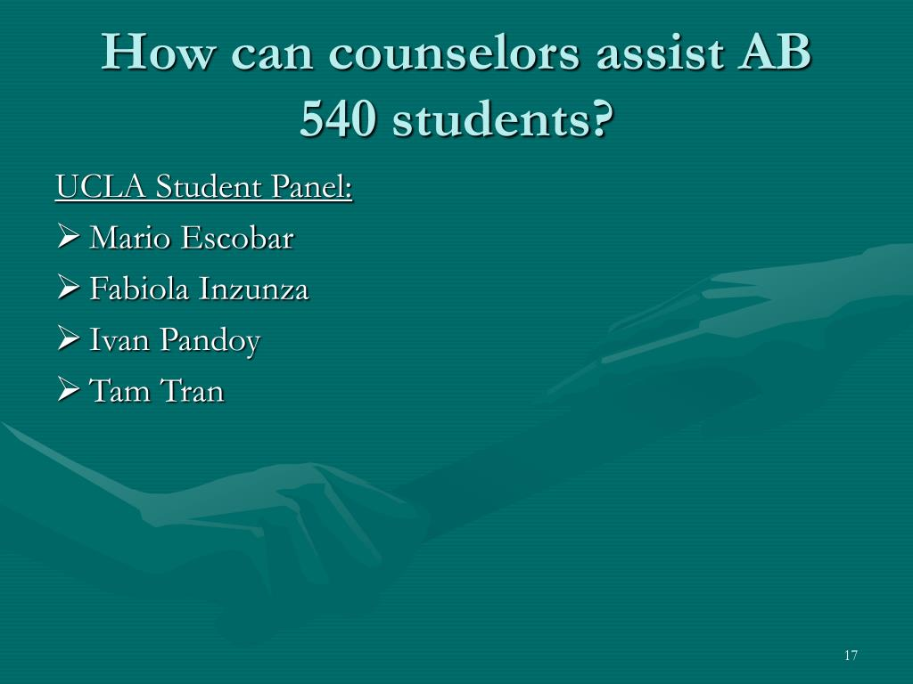 How can counselors assist AB 540 students?