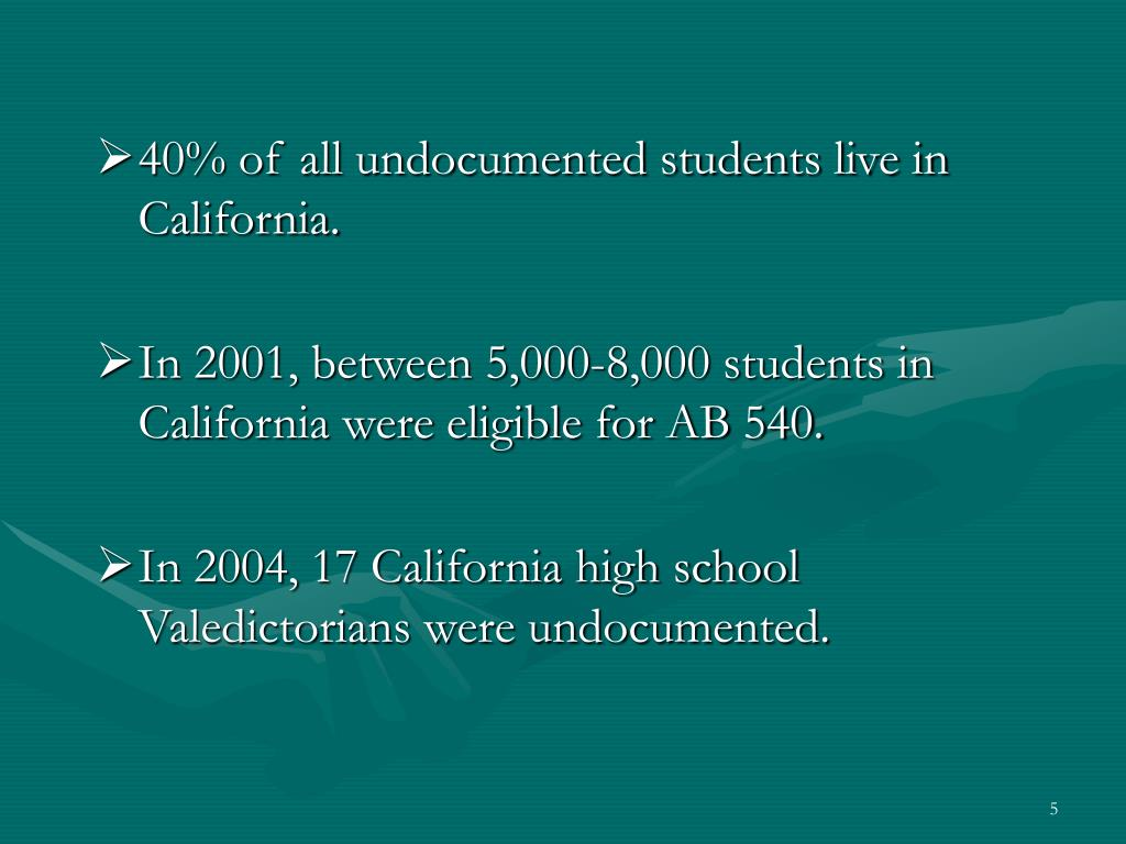 40% of all undocumented students live in California.