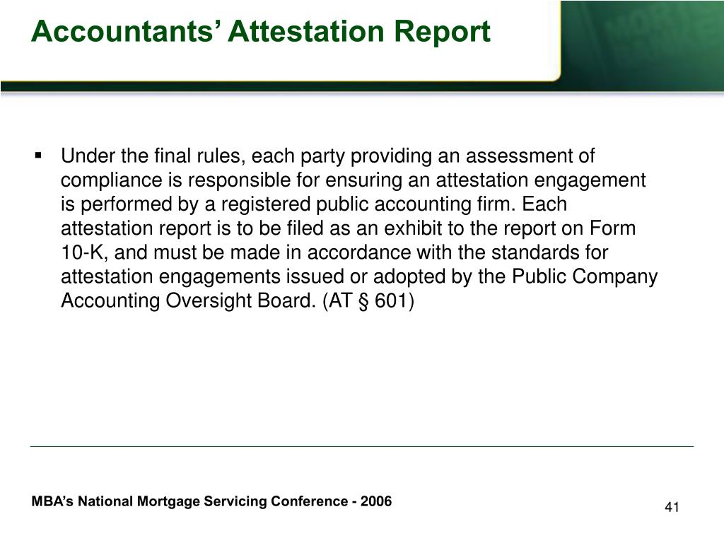 Accountants' Attestation Report