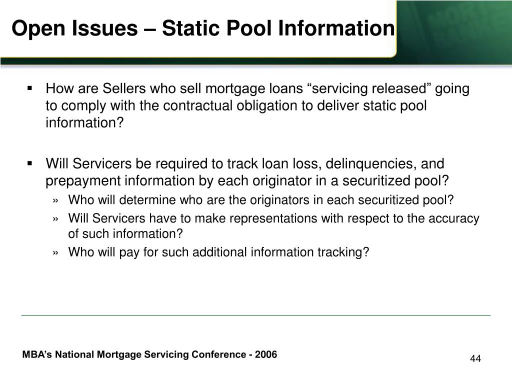 Open Issues – Static Pool Information