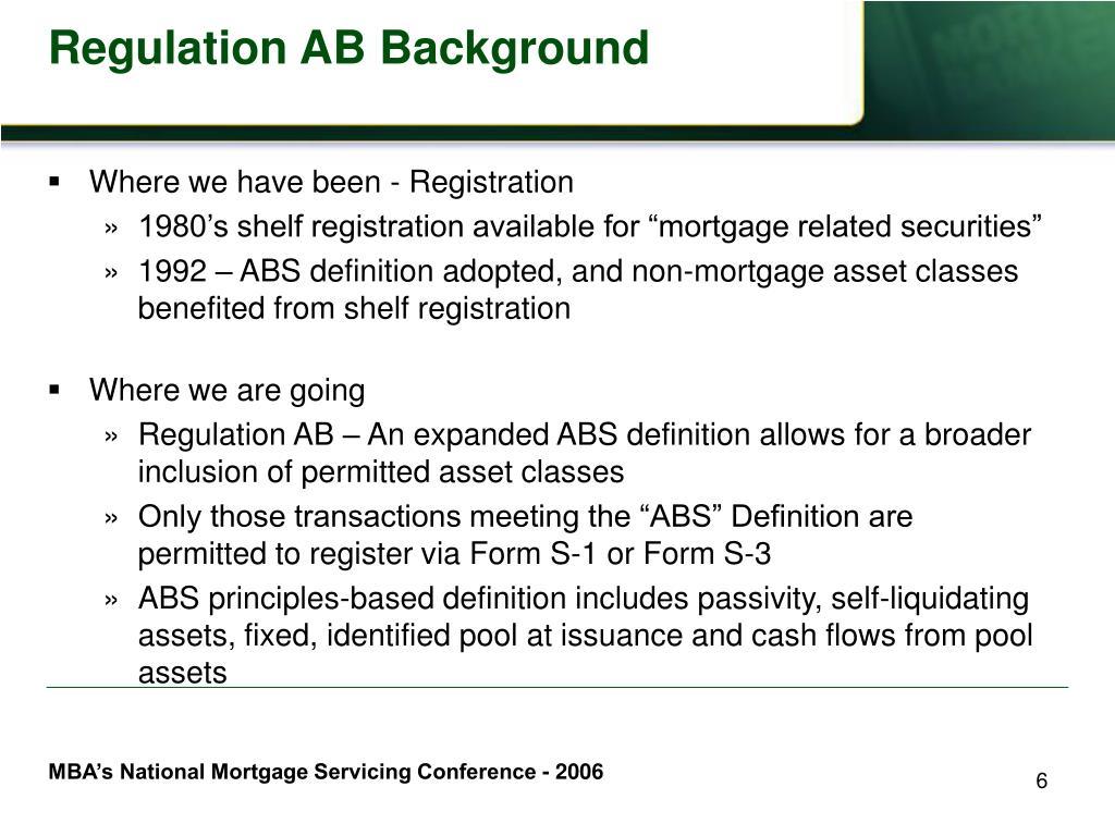 Regulation AB Background