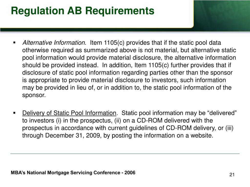 Regulation AB Requirements