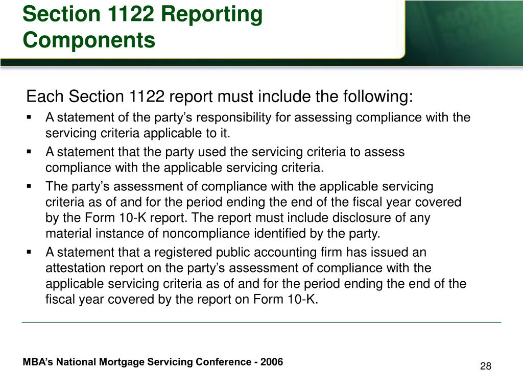 Section 1122 Reporting Components