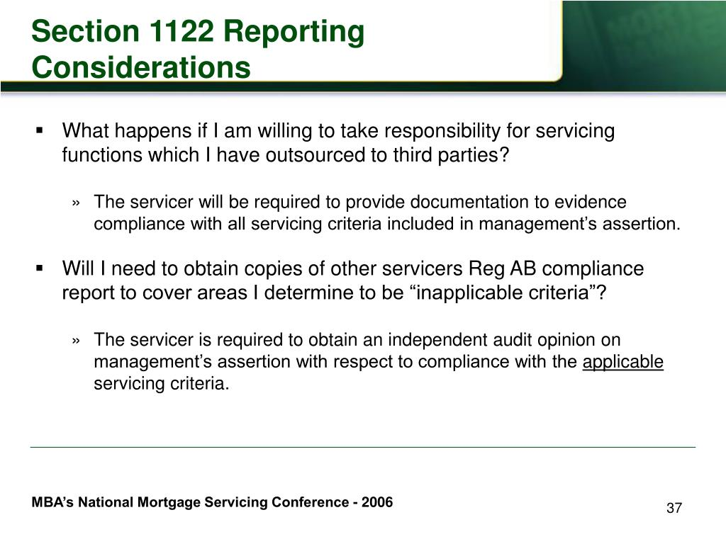 Section 1122 Reporting Considerations