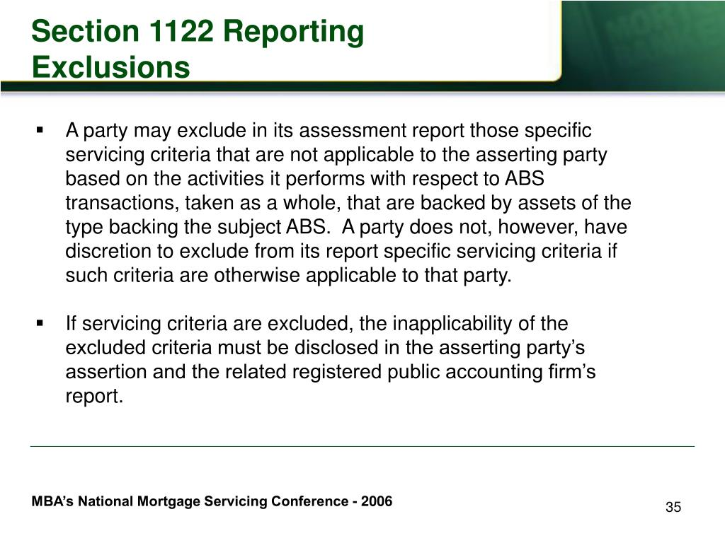 Section 1122 Reporting Exclusions