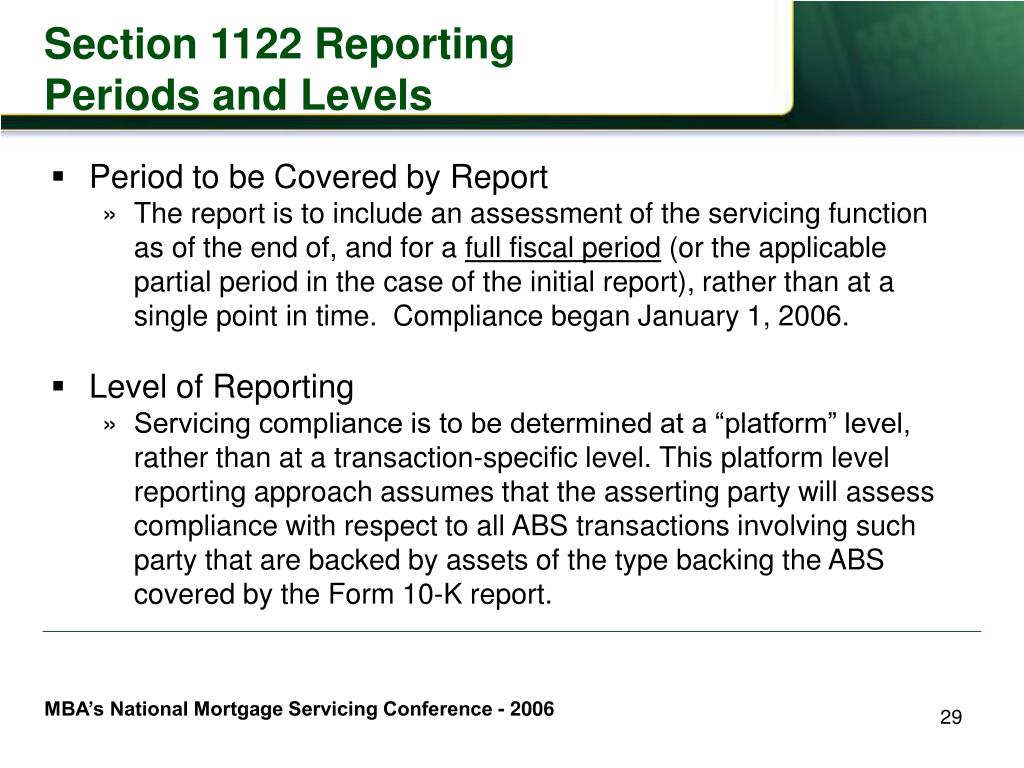 Section 1122 Reporting