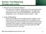 section 1122 reporting periods and levels