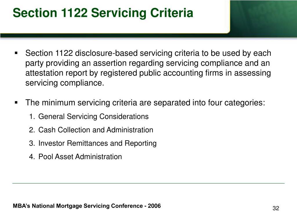 Section 1122 Servicing Criteria