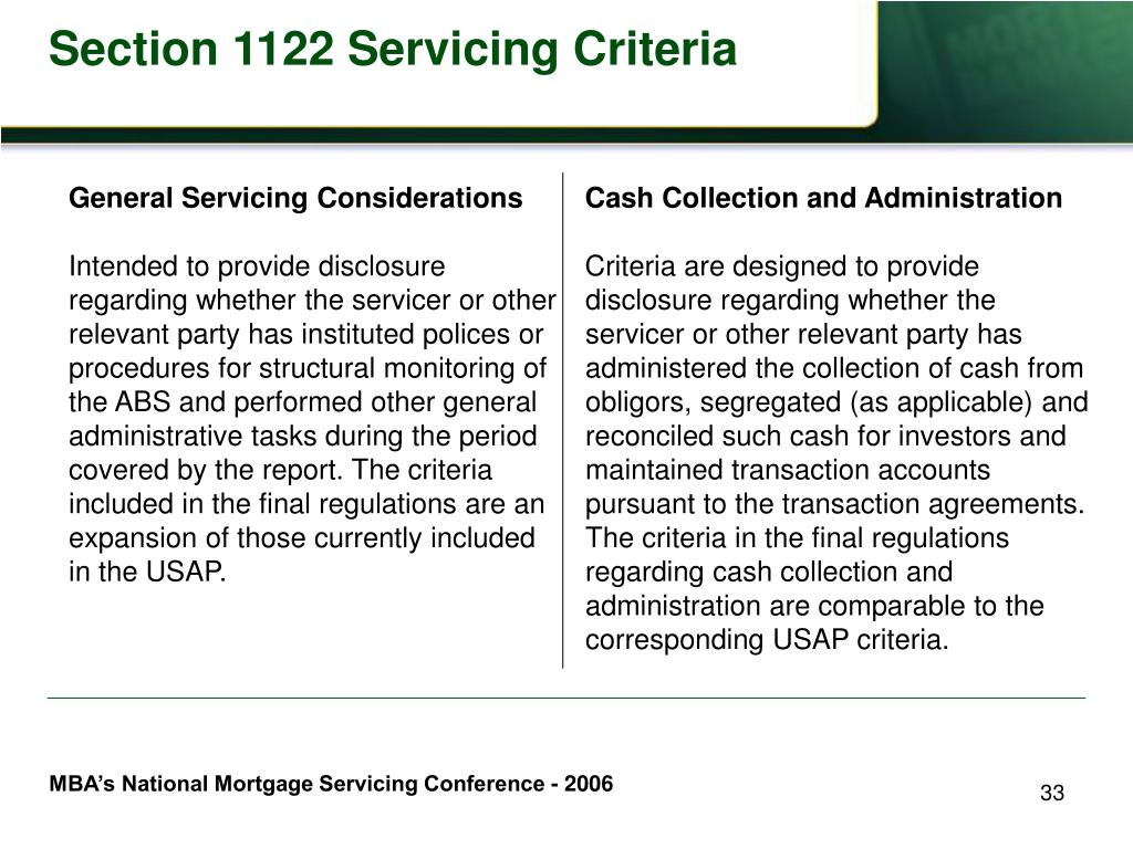 General Servicing Considerations
