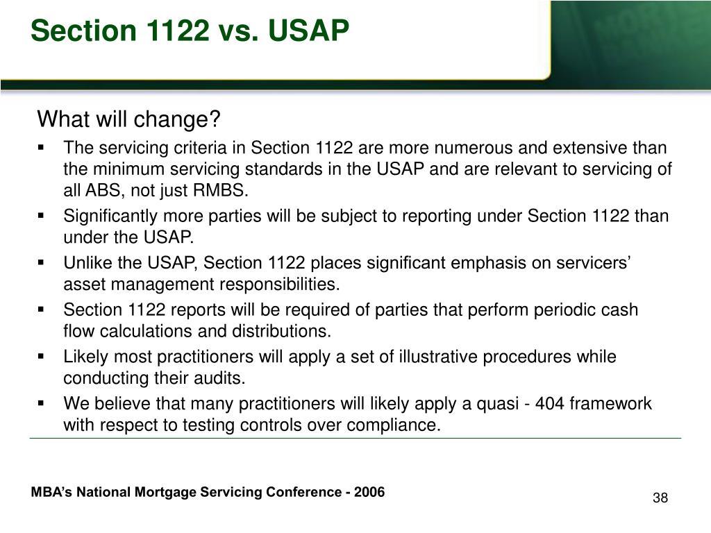 Section 1122 vs. USAP
