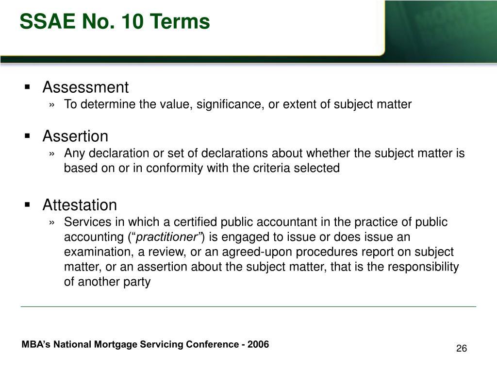 SSAE No. 10 Terms