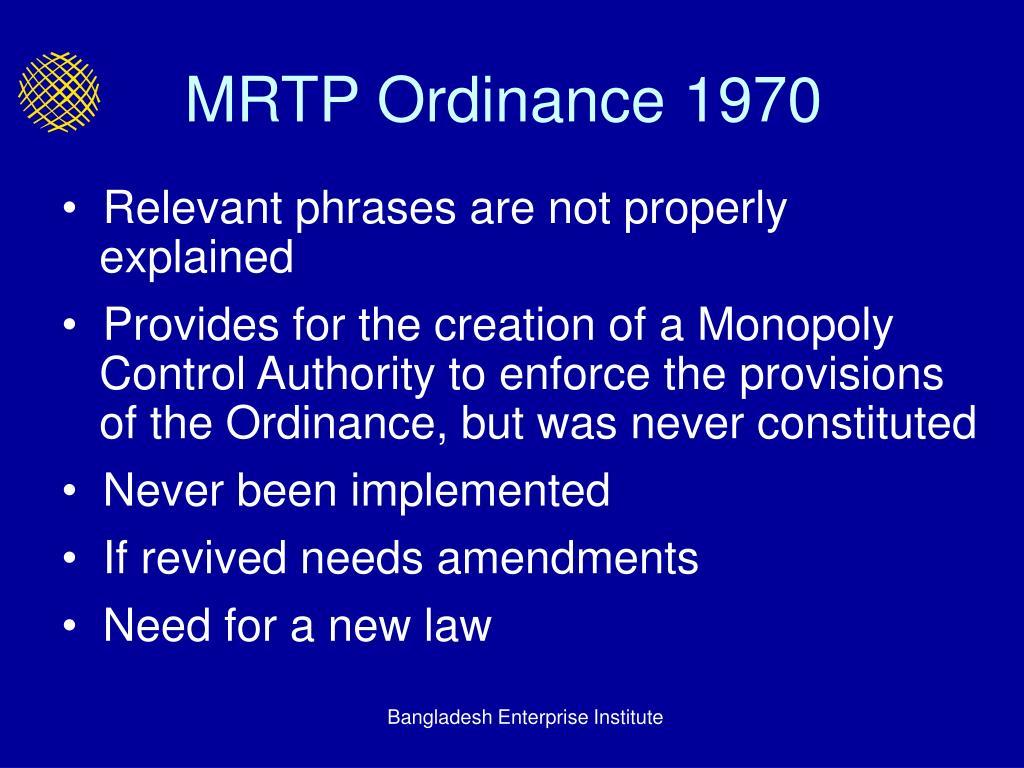MRTP Ordinance 1970