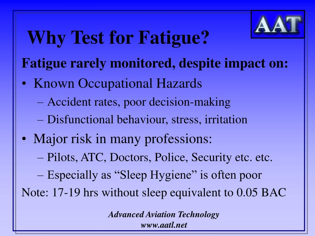 Why Test for Fatigue?