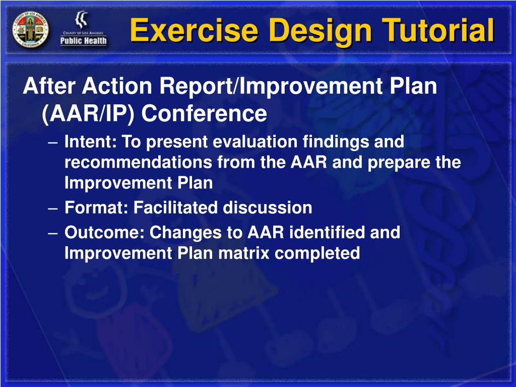 After Action Report/Improvement Plan (AAR/IP) Conference
