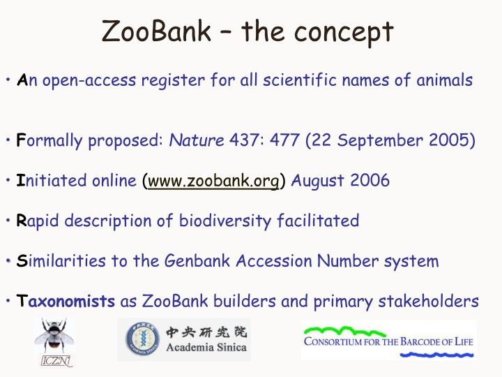 ZooBank – the concept