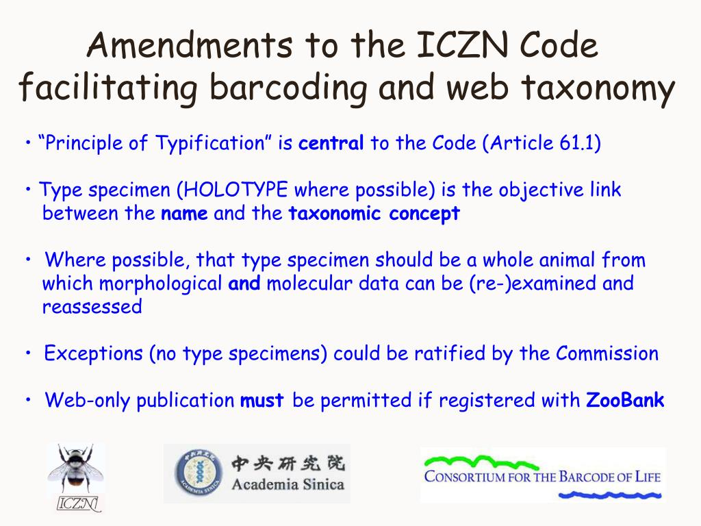 Amendments to the ICZN Code