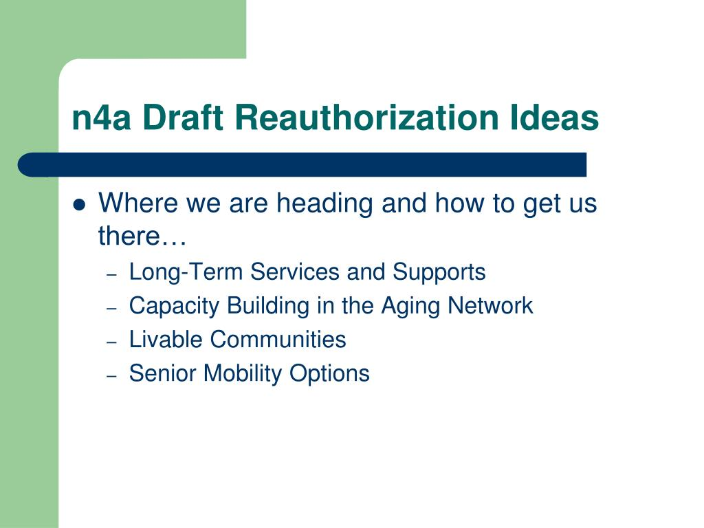 n4a Draft Reauthorization Ideas