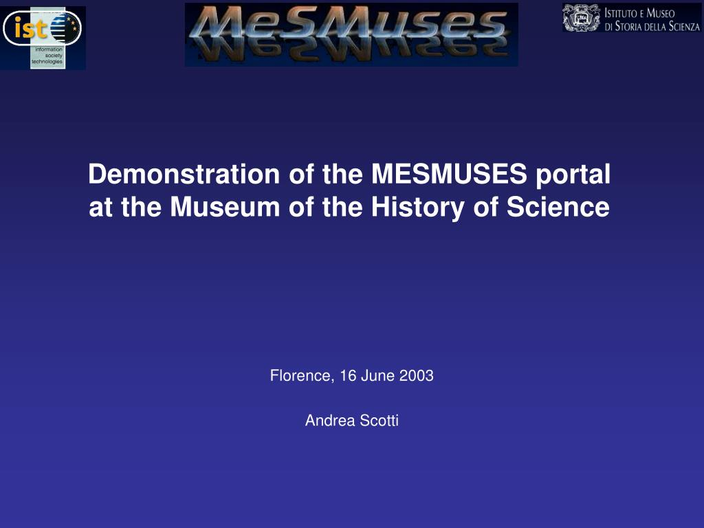 Demonstration of the MESMUSES portal