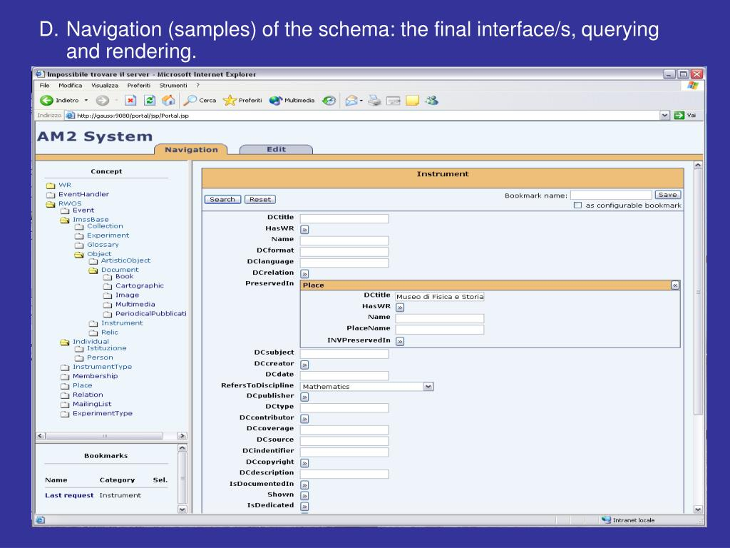 Navigation (samples) of the schema: the final interface/s, querying and rendering.