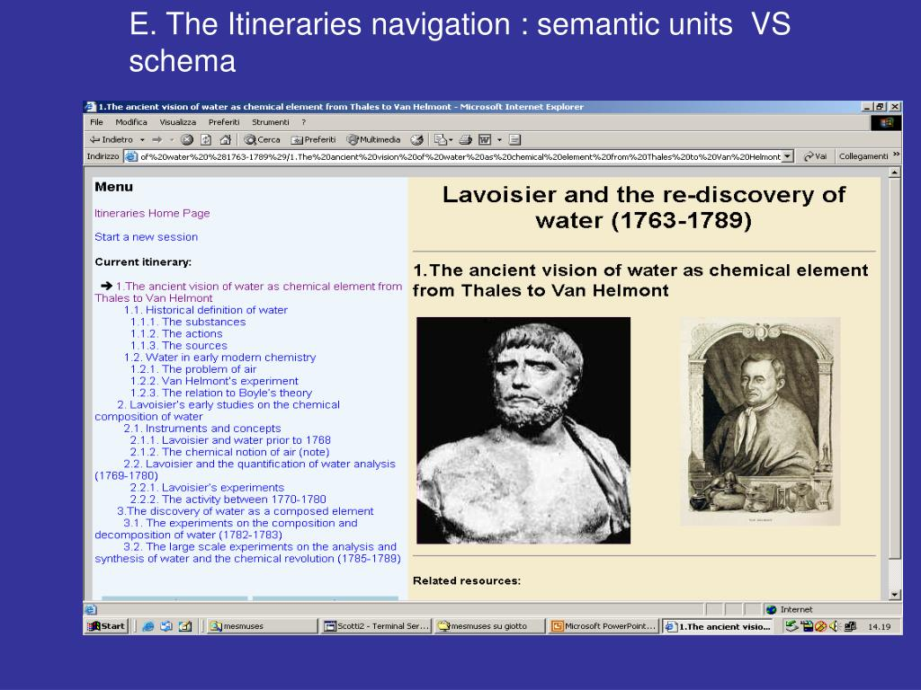 E. The Itineraries navigation : semantic units  VS schema