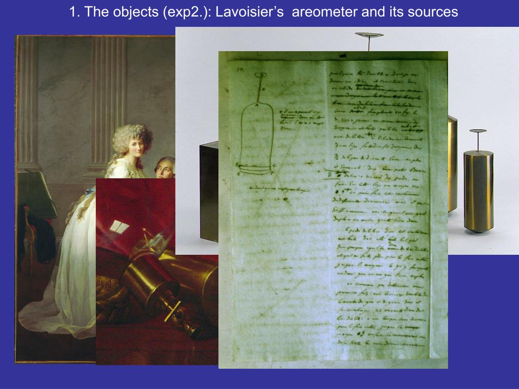 1. The objects (exp2.): Lavoisier's  areometer and its sources