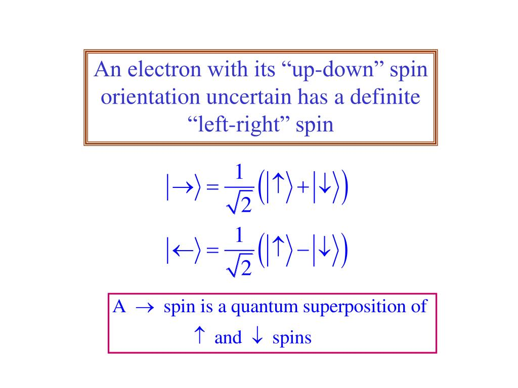 "An electron with its ""up-down"" spin orientation uncertain has a definite ""left-right"" spin"