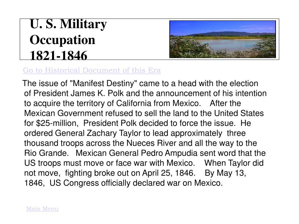 U. S. Military Occupation