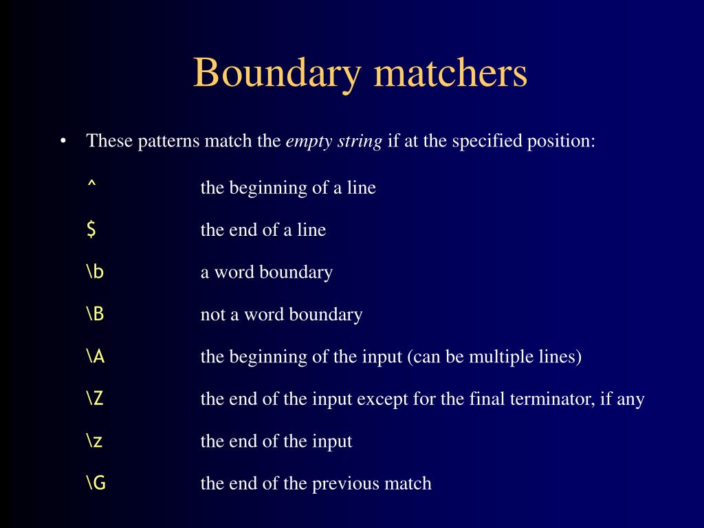 Boundary matchers