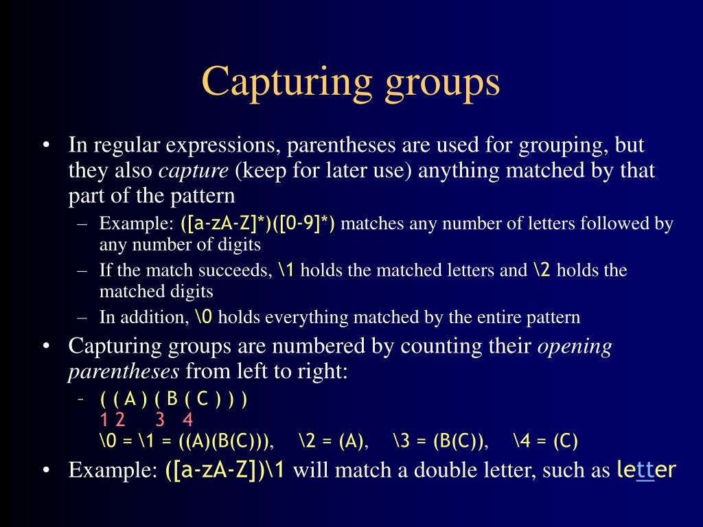 Capturing groups