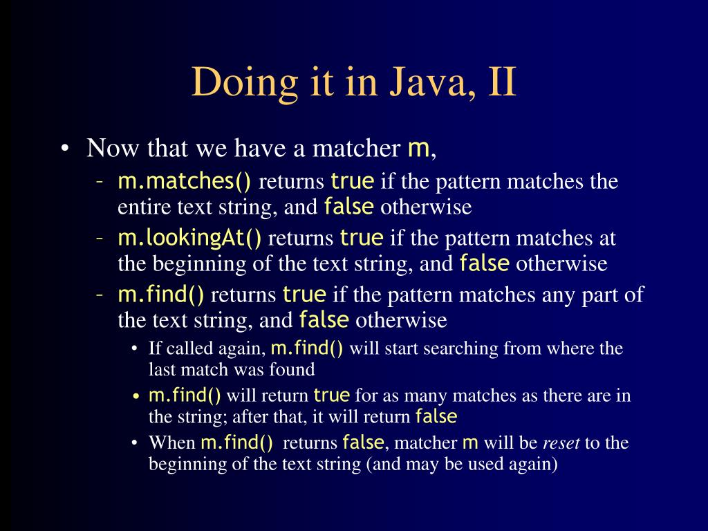 Doing it in Java, II