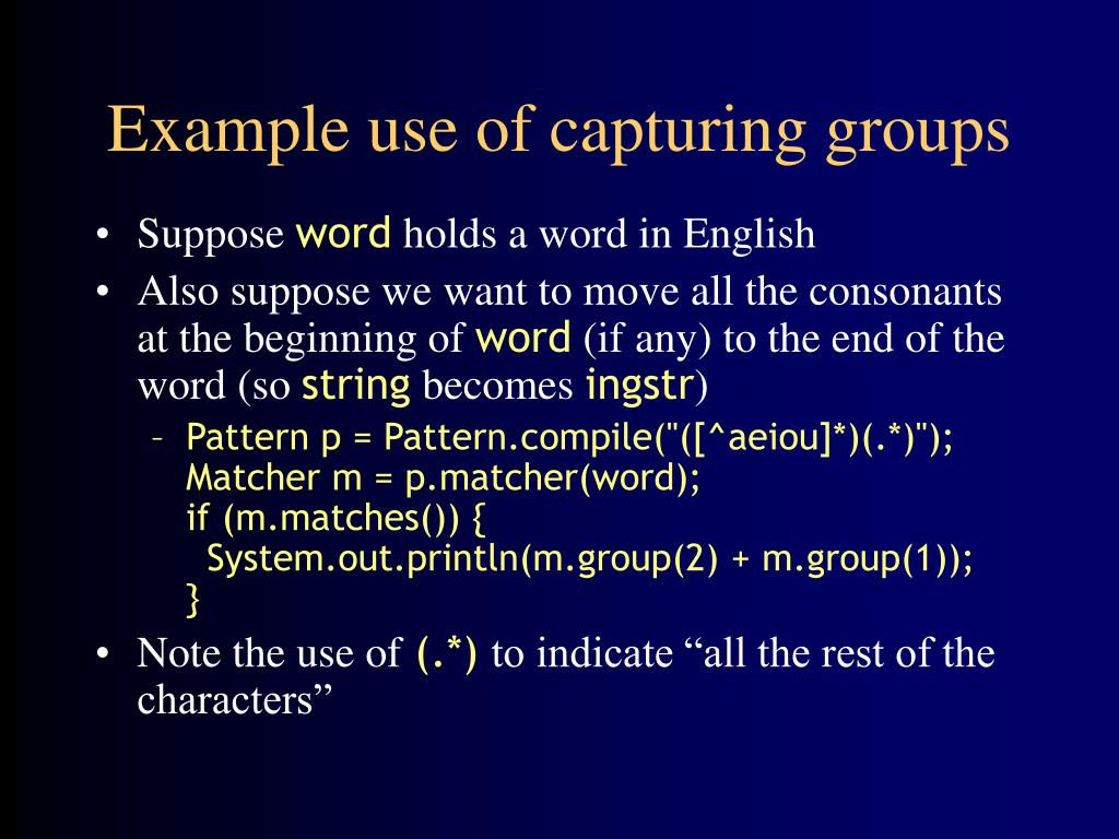 Example use of capturing groups