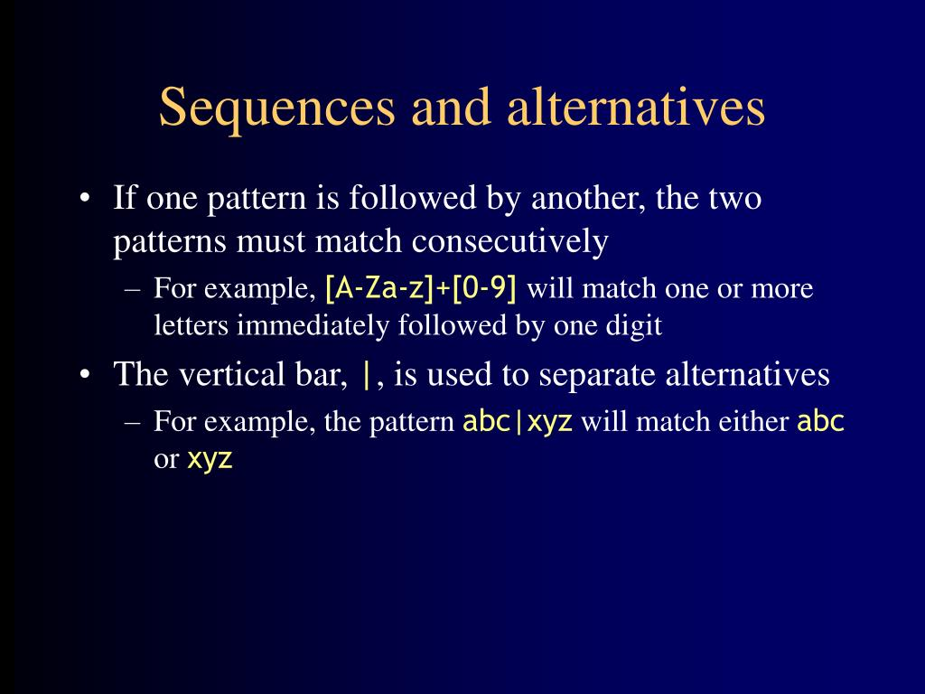 Sequences and alternatives