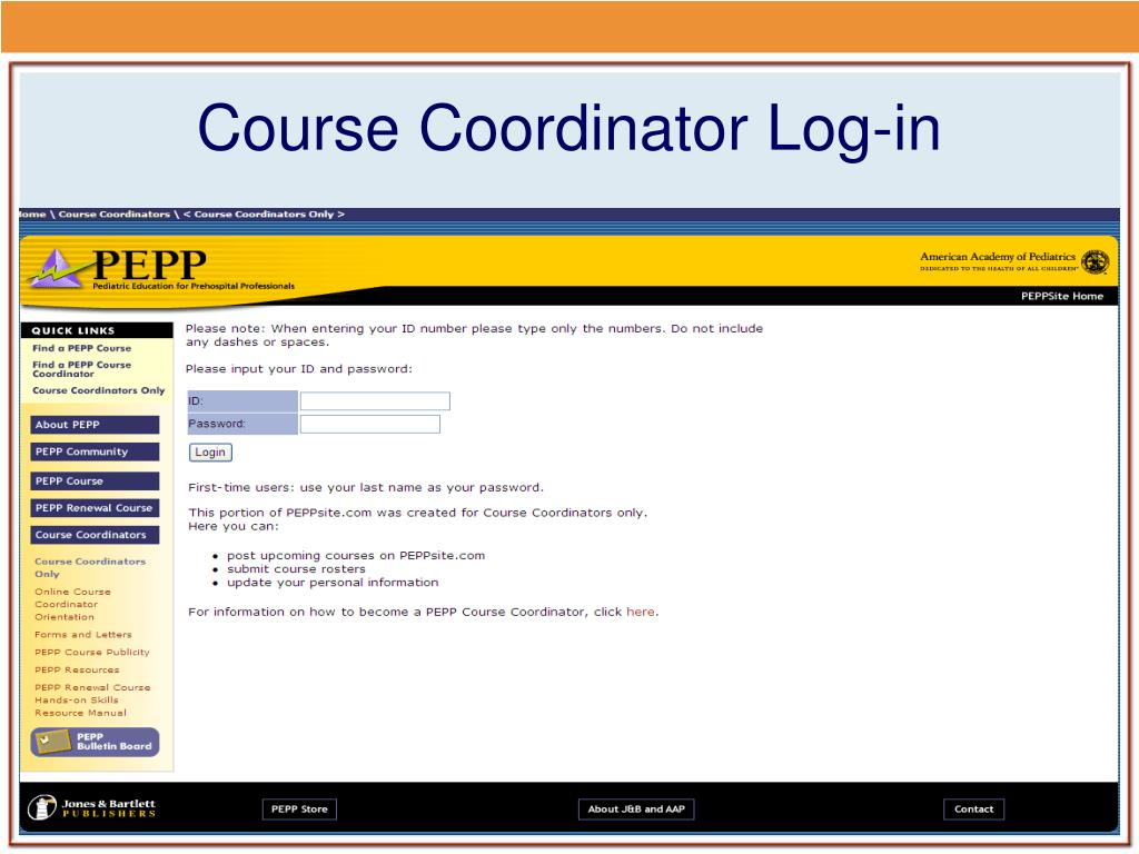 Course Coordinator Log-in