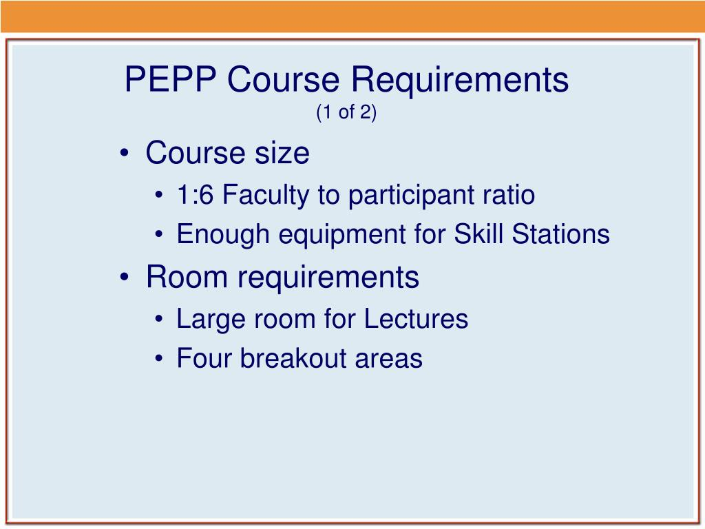 PEPP Course Requirements