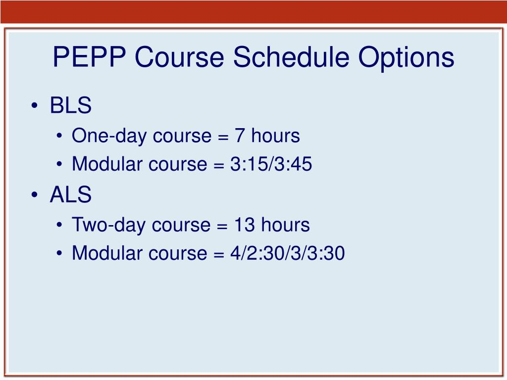 PEPP Course Schedule Options