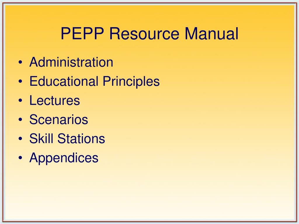 PEPP Resource Manual