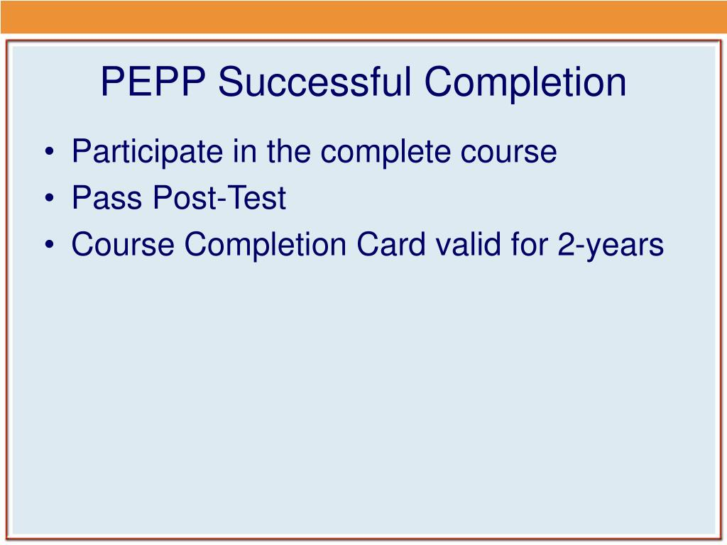 PEPP Successful Completion