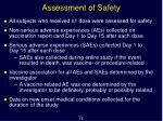 assessment of safety
