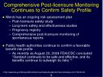 comprehensive post licensure monitoring continues to confirm safety profile