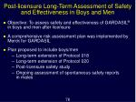 post licensure long term assessment of safety and effectiveness in boys and men