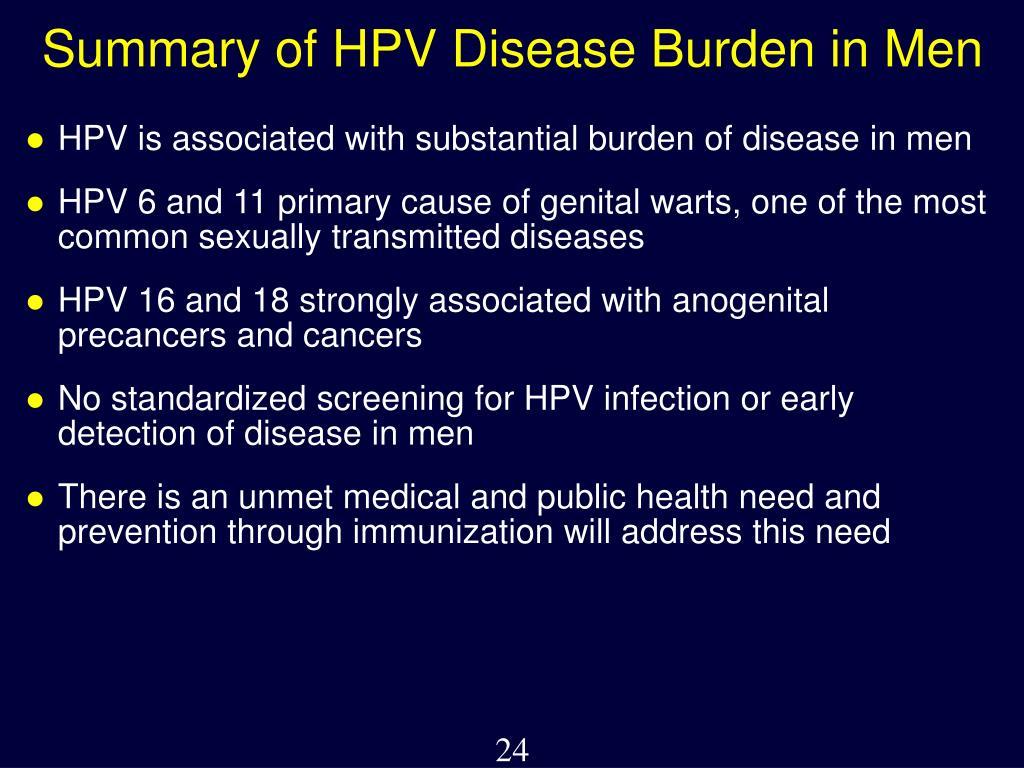 Summary of HPV Disease Burden in Men