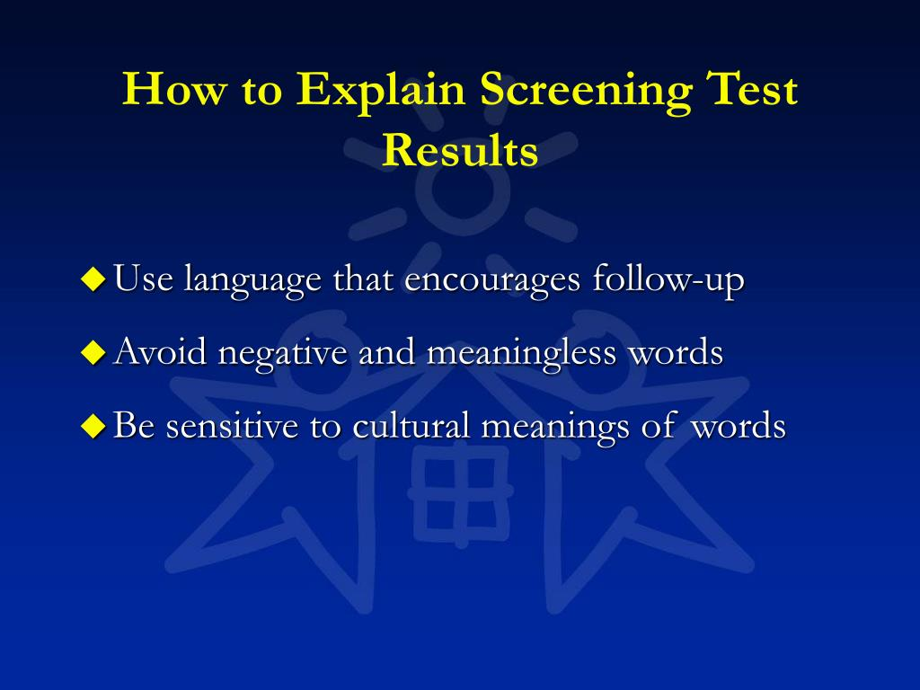 How to Explain Screening Test Results