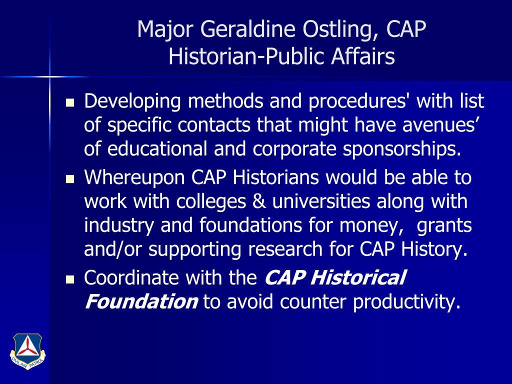 Major Geraldine Ostling, CAP