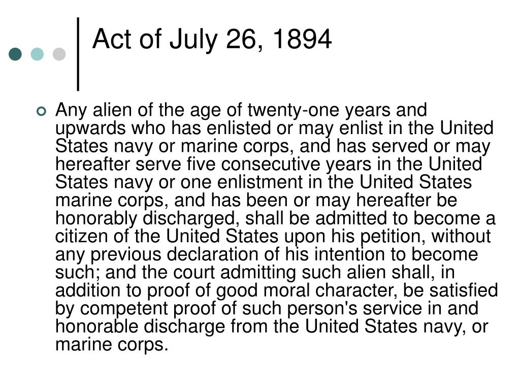 Act of July 26, 1894