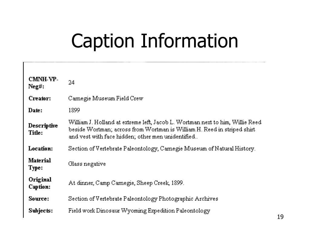Caption Information
