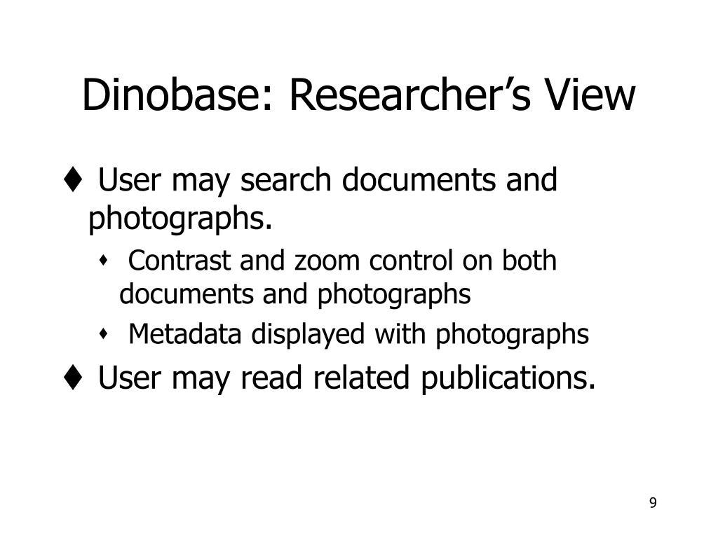 Dinobase: Researcher's View